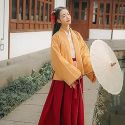 汉尚华莲传统汉服女装原创忆稚时绣花褙子冬季保暖日常中国风外套