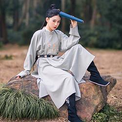 【流烟昔泠-延风】传统原创男女装汉服圆领袍衫秋冬刺绣