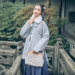 汉尚华莲传统汉服女装江月离刺绣上衣褙子搭配垮裤套装日常款冬装