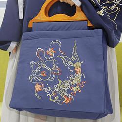 【流烟昔泠-凌川】原创日常女装汉服汉元素配饰手提木柄布包