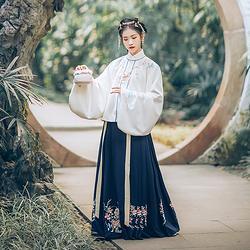 汉尚华莲传统汉服女装年话刺绣明制立领上袄搭配蓝色下裙袄裙套装