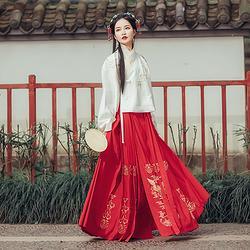 都城南庄原创新品明制汉服马面裙红色绣花下裙秋冬款钗头凤马面裙