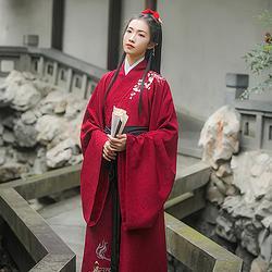 汉尚华莲传统汉服女装长相思女款刺绣红色大袖直裾气质日常冬季