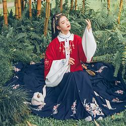 汉尚华莲传统汉服女装蜀梦花朵刺绣气质红色款半臂日常秋冬款上衣
