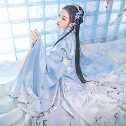 汉尚华莲传统汉服女装青城刺绣外搭大袖衫披风蓝色渐变日常秋冬款