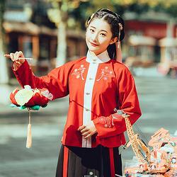 丰年花朝记汉服原创灯笼梅花设计新年款红黑立领袄短裙日常秋冬女