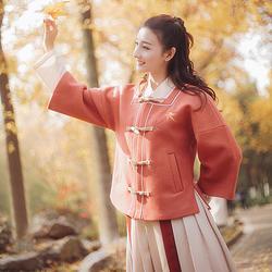 枫林晚 花朝记汉服原创枫叶刺绣对襟半臂中长裙日常秋冬女装