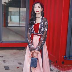 汉尚华莲日常时尚风传统汉服女装窄袖对襟襦裙齐腰春夏仙鹤印花