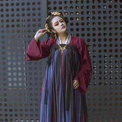 彧卿轻奢原创  蓬莱系列春秋新款条纹印花齐胸襦裙两件套—紫苑