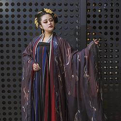 彧卿轻奢原创设计  蓬莱系列印花大袖衫两件套-子夜 春秋人气