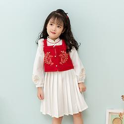 重回汉唐 灵绡 汉服女童冬装中国风传统儿童比甲加绒连衣裙套装
