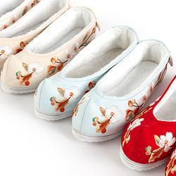 重回汉唐秋怡汉服鞋子女冬季加绒民族风弓鞋绣花鞋平底复古毛毛鞋
