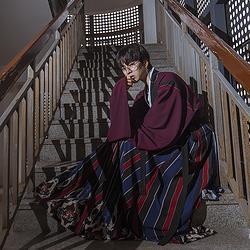 彧卿轻奢原创 创新设计款 蓬莱系列印花晋襦两件套.黛兰 三米摆