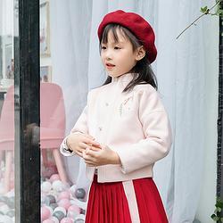 重回汉唐花漱汉服女儿童中国风新年童装呢绒外套襦裙套装女童裙子