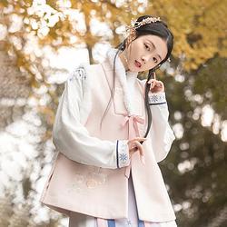 重回汉唐 熹晴 汉服冬装女加厚保暖改良比甲中国风毛毛外套女学生