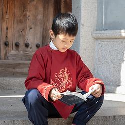 悦鲤儿童汉服男童圆领上衣下裤套装传统中国风新年童装裤子春秋款