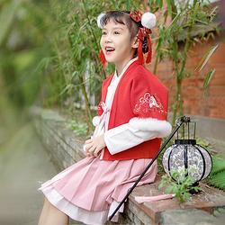 重回汉唐 玬聆 汉服女童冬装中国风新年童装外套加绒女童裙子套装