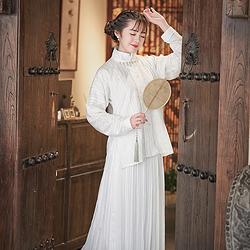 无衣饮羽原创传统汉服烟雨墨明制对襟秋款纯棉日常竖领衫白色下裙