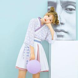 鹿韵记西笑吟原创改良汉服女装交领短裙套装格纹印花日常汉元素