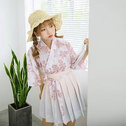 鹿韵记南木白原创改良汉服女装印花交领上衣短袖百搭汉元素夏款