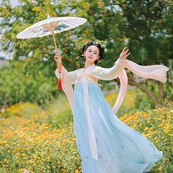 濯锦阁新品原创设计传统汉服女装齐胸襦裙   清玉 清新淡雅