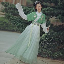 华姿仪赏【绿江南】原创设计汉服女装半臂襦裙日常百搭