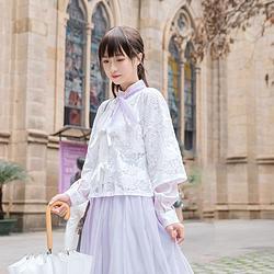 鹿韵记原创改良汉服女装日常汉元素服饰提花对襟上衣半裙套装