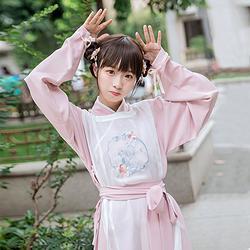 鹿韵记原创改良汉服女装小晴明圆领袍套装刺绣汉元素服饰秋装
