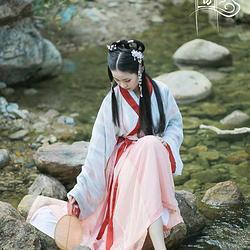 【青袂坊】汉服魏晋交领襦裙间色裙——明月珠  全款定制