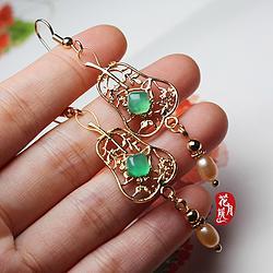 【绿了芭蕉】绿沁沁的玛瑙珍珠铁扇公主耳环 汉服耳饰 扇子耳坠