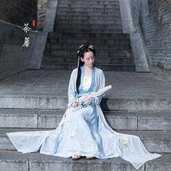 河汉涓埃汉服荼蘼原创传统汉服女绣花对襟齐腰襦裙衣裳吊带披帛夏