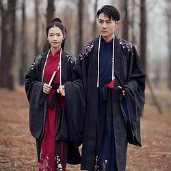 汉尚华莲传统汉服男装长相思男款刺绣黑色大袖衫日常秋冬季外披风