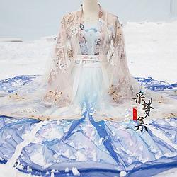 采梦集原创轻婚纱日常绣花对襟汉服女6米渐变齐腰襦裙大袖衫 化蝶
