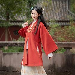 重回汉唐五谷丰灯汉服女直领半袖明制中长袄女冬季中国风毛呢外套