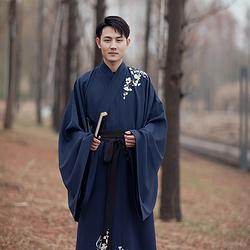 汉尚华莲传统汉服男装长相思宝蓝色直裾游龙刺绣日常帅气秋冬装
