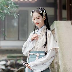 汉尚华莲原创设计传统汉服女装弦月刺绣对襟半臂日常秋冬上衣外套