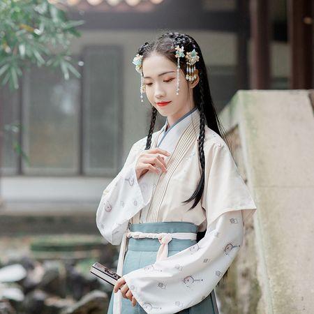 汉尚华莲原创设计传统汉服女装弦月刺绣对襟半臂日常春秋上衣外套