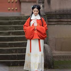 重回汉唐五谷丰灯汉服冬装女明制交领短袄毛呢外套女中国风新年装