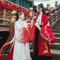 汉尚华莲x楚留香合作款春盈袖刺绣一片式褶裙深红色日常传统汉服