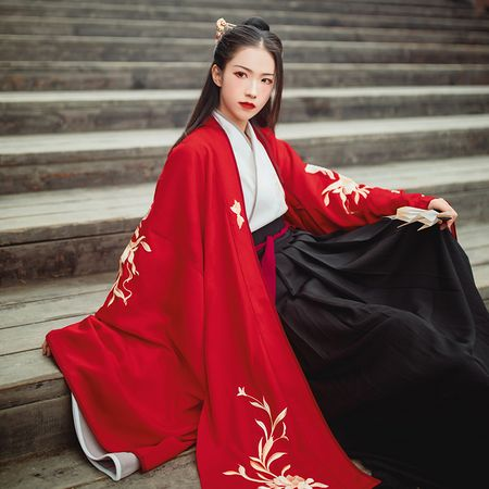 汉尚华莲x楚留香合作款流霎刺绣红色大袖褙子外披传统汉服女日常