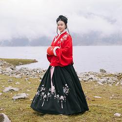 重回汉唐汉服女装芍花莳传统中国风明制交领齐腰袄裙秋冬非