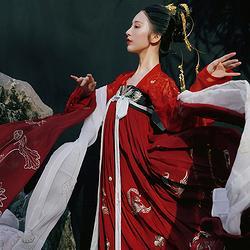 钟灵记长生殿一片式齐胸襦裙对襟唐风传统汉服国风春夏秋款红白色