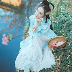钟灵记【小乔】长褙子传统汉服女装齐腰改良芙蓉刺绣中国风春夏秋