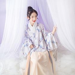汉尚华莲传统汉服女装夏秋款含笑印花明制交领袄裙日常简约华服