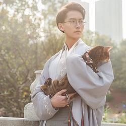 重回汉唐[国风美少年赞助]云淮汉服男直领对襟衫中国风套装