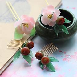 花朝节春日特辑 浆果料器发梳 大花瓣娇艳粉色月季花琉璃古典簪子