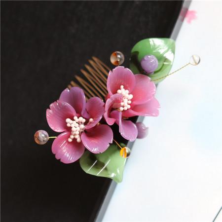 花朝节 姹紫嫣红渐变色大牡丹花料器发簪 古典汉服发饰 可做摆件