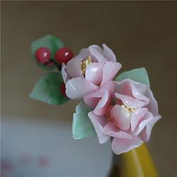 花朝节 娇羞粉红美人面芙蓉花料器发簪发钗 古典盘发梳子汉服配饰