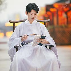 汉服男与子同裳原创单层琵琶袖方圆圆领公服古风中国风
