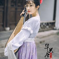 华兴唐汉服传统服饰春夏汉服坦领襦裙烫